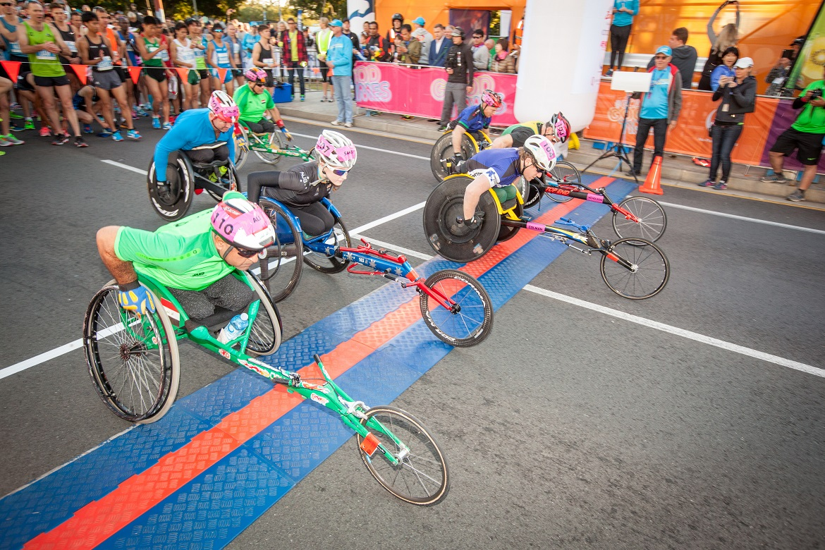 Wheelchair Marathon start line