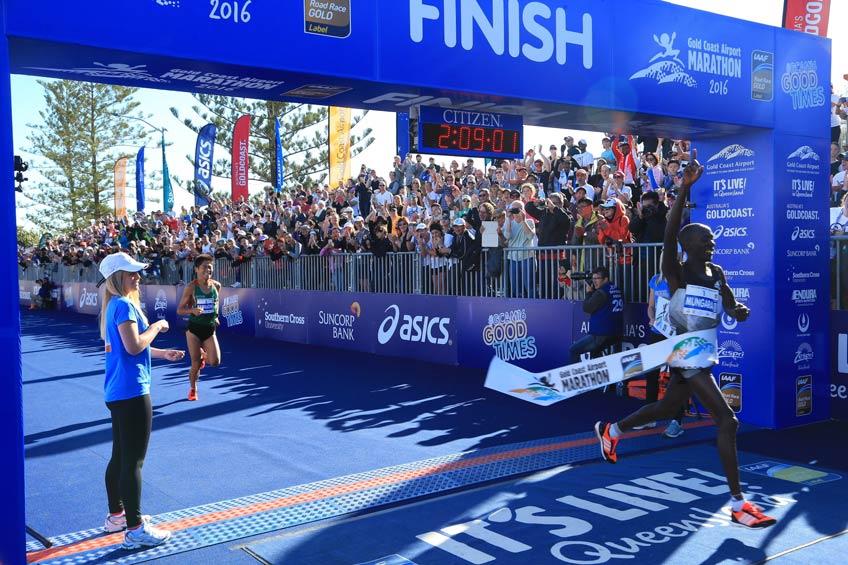 Kenneth Mungara wins the Gold Coast Airport Marathon