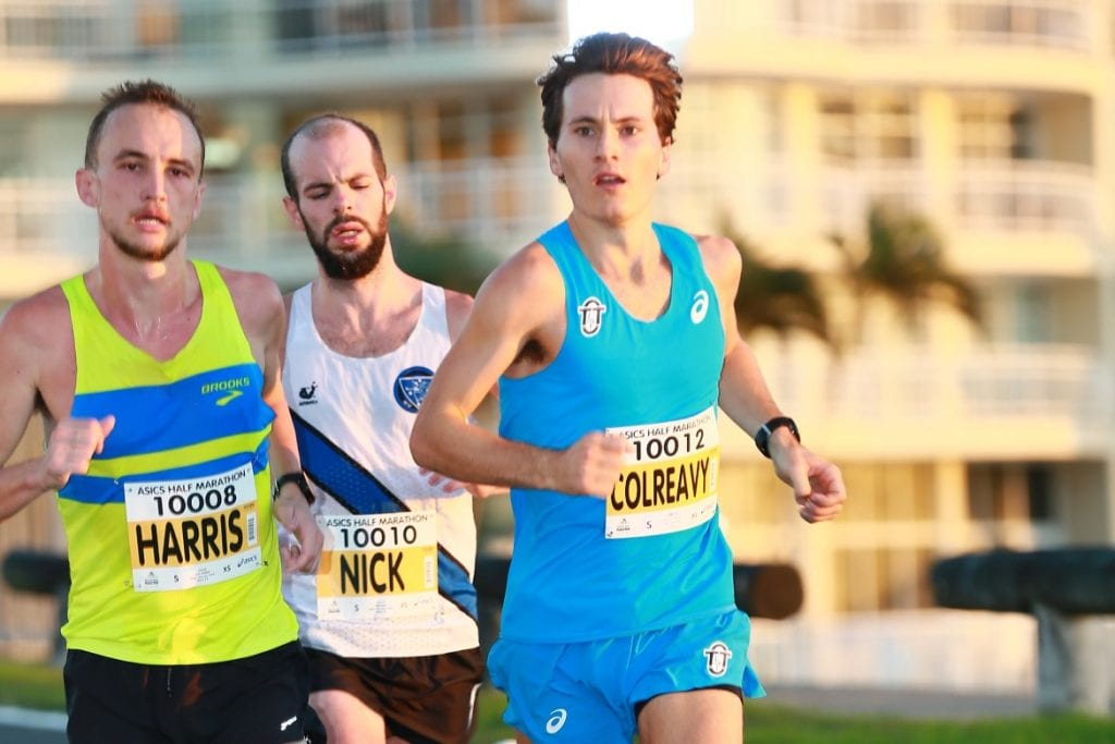 Australian representatives Josh Harris (left) and Jack Colreavy (right) joined Nick Earl (centre) at this year's Gold Coast Airport Marathon